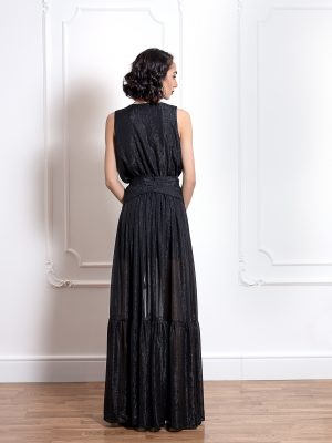 Дълга рокля на волани с цепка на единия крак 2