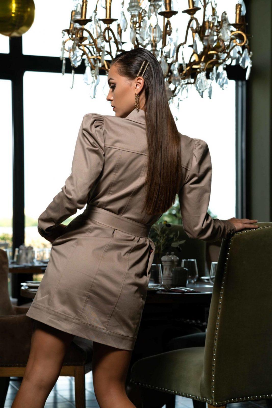 Къса рокля с копчета и колан(тип дънкова)