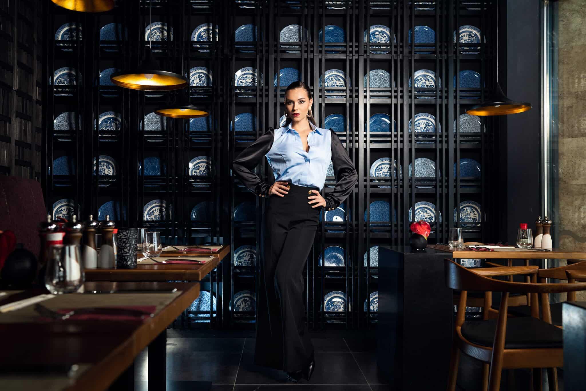 Риза с дълъг ръкав в черно и синьо