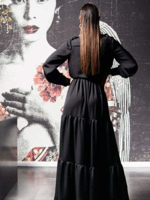 Дълга рокля тип риза с волани