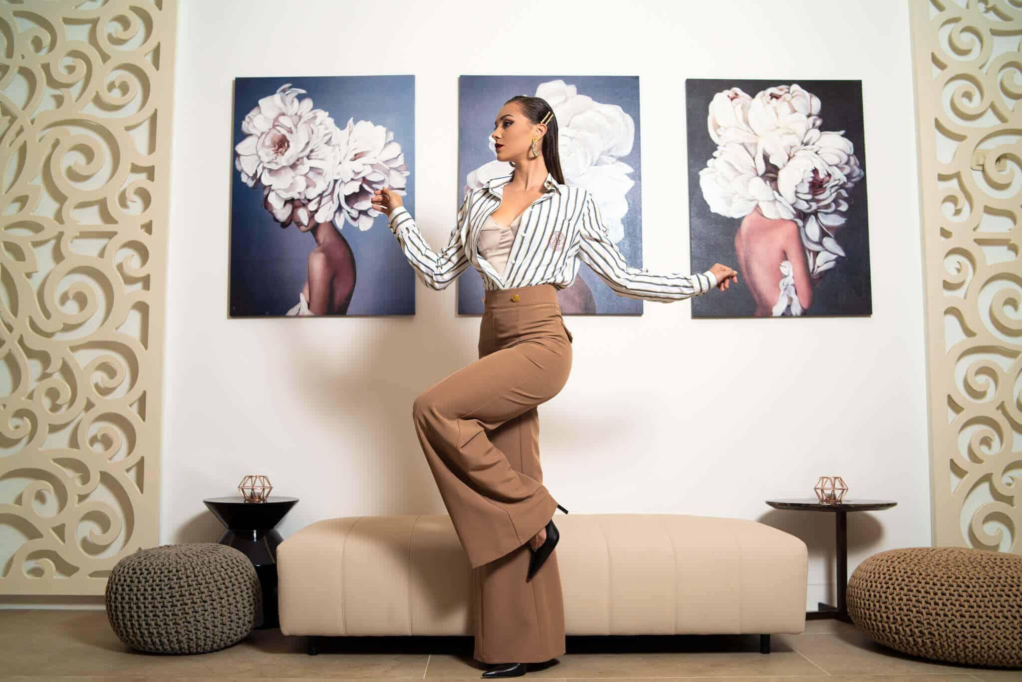 Палацо панталон с висока талия в цвят тофифи