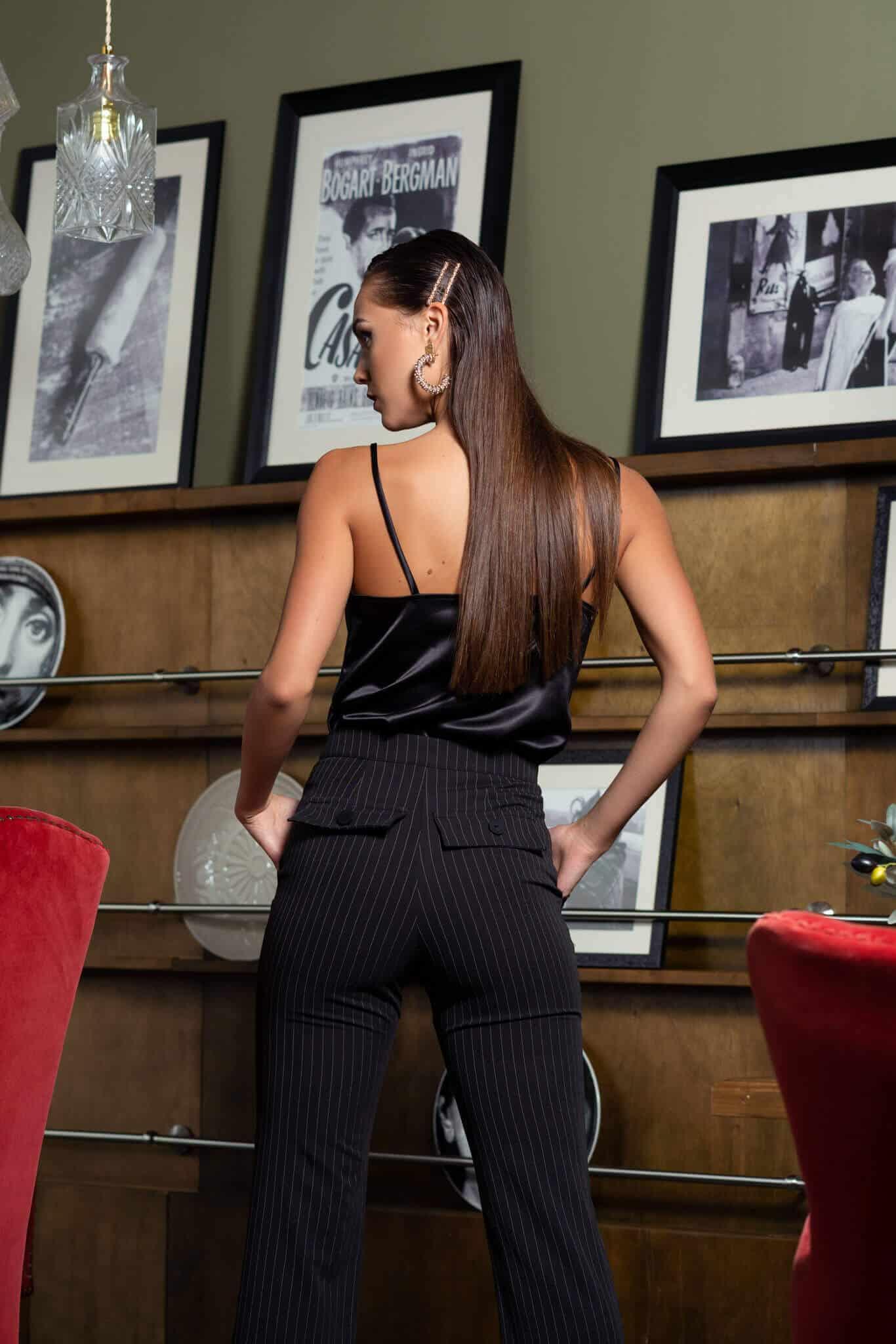 Раиран дамски панталон с цепки