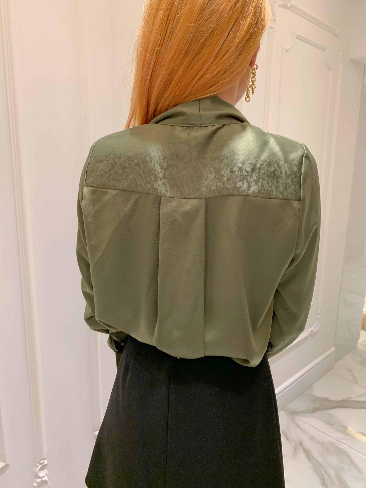 Боди тип риза със шал яка в цвят песто