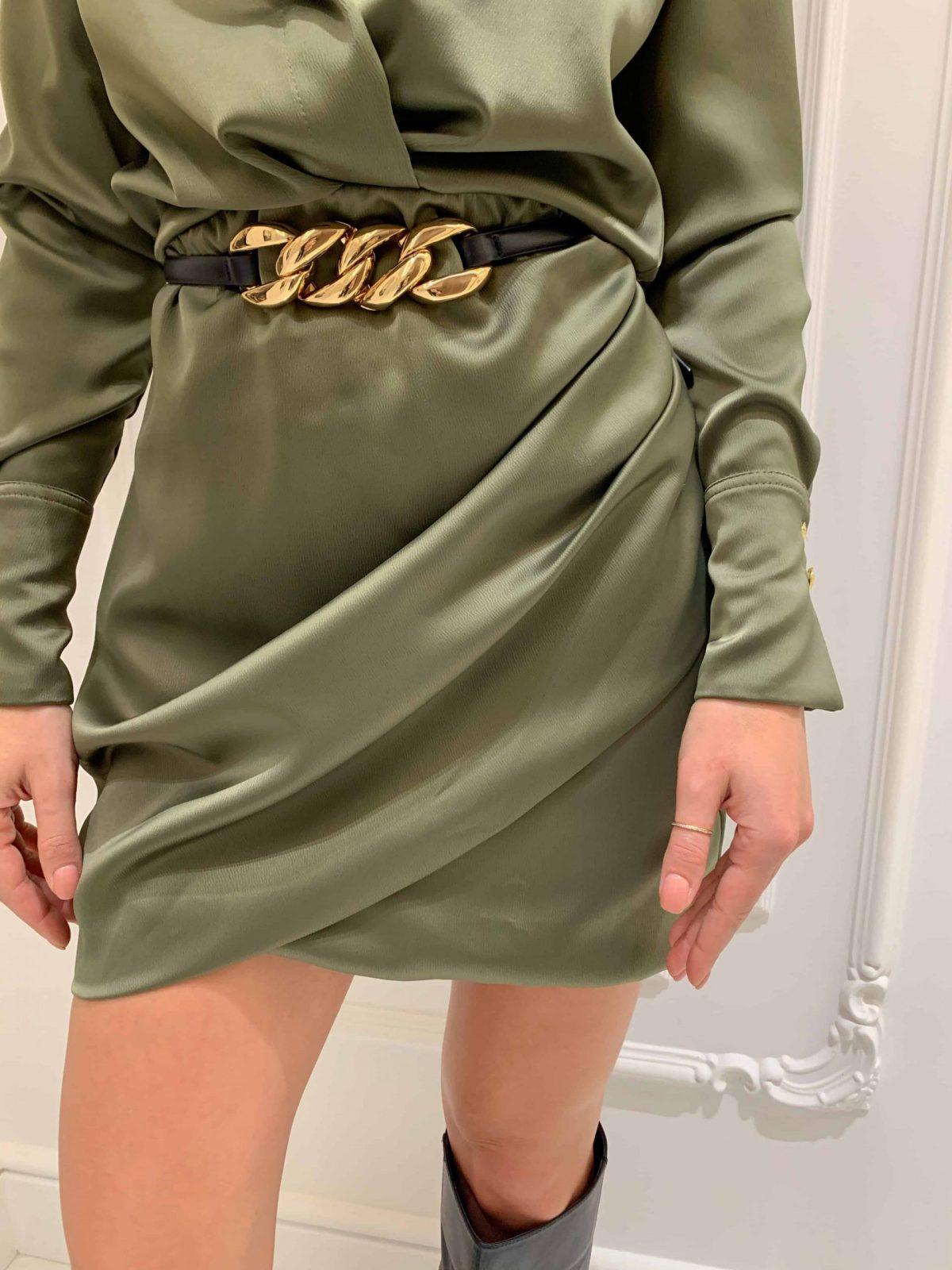 Къса рокля по тялото в цвят песто