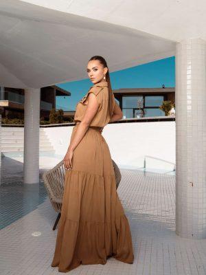 Дълга риза рокля с волани в цвят карамел