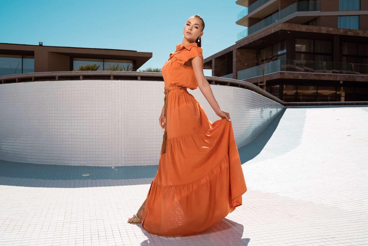 Дълга риза рокля с волани в оранжев цвят